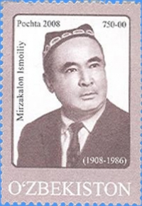 "805. Postage stamp ""The 100th birthday of Mirzakalon Ismoiliy""."